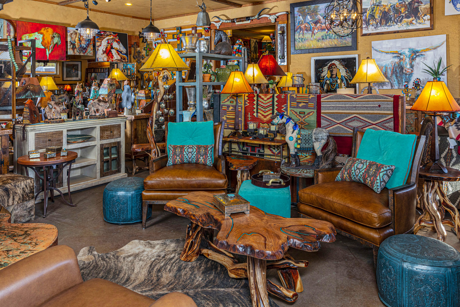 Rustic Turquoise and Wood Furniture Set