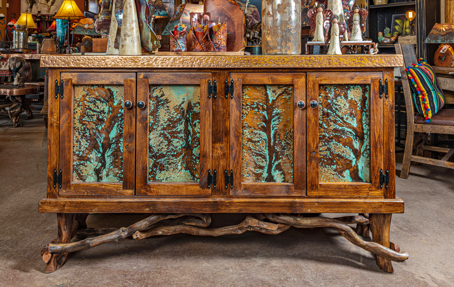 Copper and Turquoise Wood Buffet